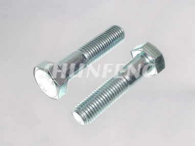 Two steel hex bolts with clear zinc plating