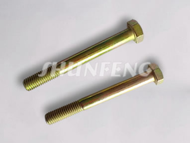 Two steel hex bolts with yellow zinc plating