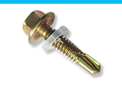 A self drilling screw made from steel with yellow zinc finish